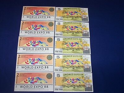 Lot of 10 Australia Expo Bank Notes Two Types