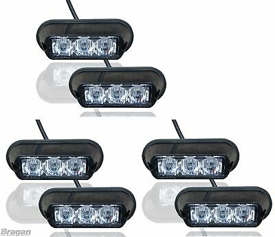 6 x Amber Strobe Flashing LED Lights Recovery Truck Breakdown Lorry Lamps