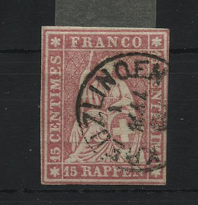 Schweiz Switzerland Strubel 15 Rp. Zst.24G(Hermann 24B4)  CHF 75