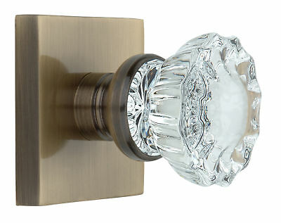 Knoxx Hardware Crystal Door Knob with Square Rosette