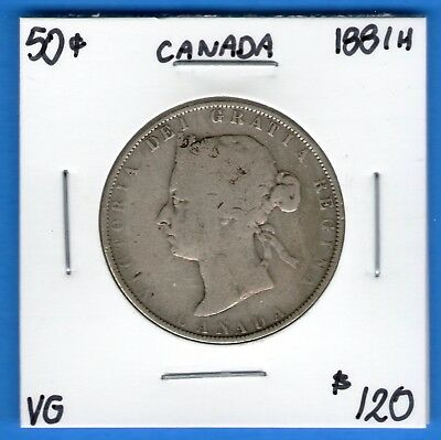 Canada 1881 H 50 Cents Half Dollar Coin LOT33 - Very Good