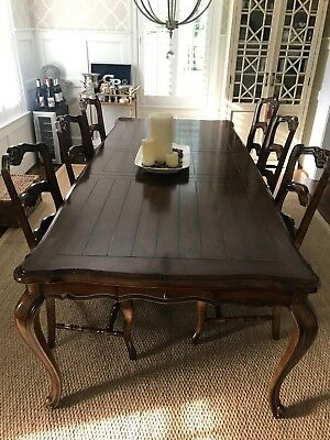 French Country Dining Room Table &Set of 6 Rush Seat Solid Walnut Chairs