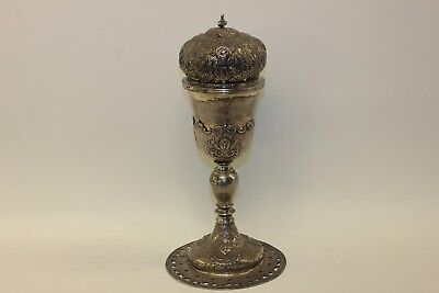 Antique Original Handmade Silver Amazing Jesus Decorated Greek Big Cup