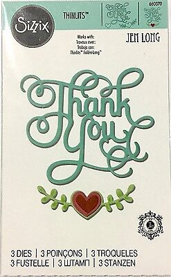 Sizzix Cut Emboss & Stencil Thin Die ~Thank You With Heart Code 660370