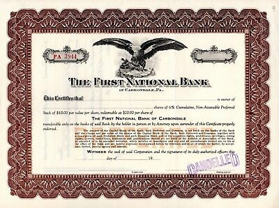 The First National Bank of Carbondale, Pennsylvania early 1900 Stock Certificate