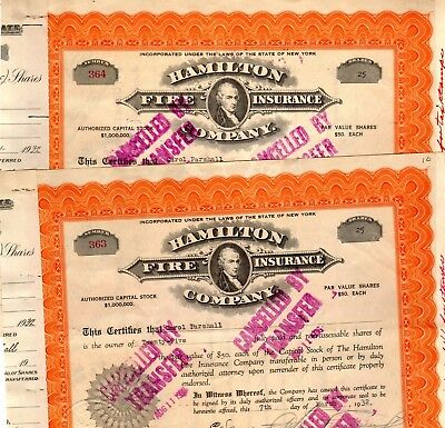 Hamilton Fire Insurance Company of New York 1932 Stock Certificate