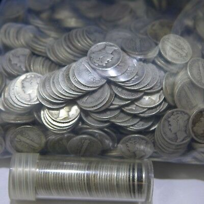 LOT OF 50 - 1920'S MERCURY DIMES - MIXED DATES w/duplicates (50 COIN ROLL) AG-G