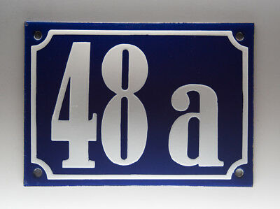 EMAILLE, EMAIL-HAUSNUMMER 48a in BLAU/WEISS um 1955