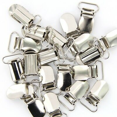 20 pack Webbing Hook Pacifier Suspender Clips Silver 20mm