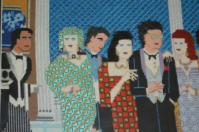 Vintage Unique Hand Made Silk Needlepoint Cocktail Happy Hour Framed  Picture
