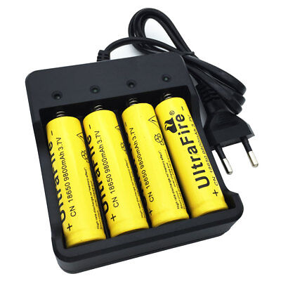4X Flat top 18650 Batterie 9800mAh 3.7V Li-ion Rechargeable + Battery Chargeur