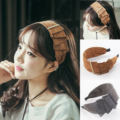 Women Split Layer Fringed Diamond Wide Headband Velvet Head Hoop Simple Headwear