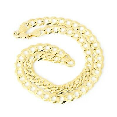 """Men's Solid 10k Yellow Gold Comfort Cuban Curb 8.3mm Chain Necklace, 24"""""""