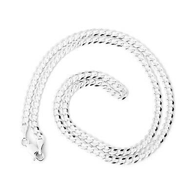 """Beauniq Men's Solid 14k White Gold Comfort Cuban Curb 3.6mm Chain Necklace, 22"""""""