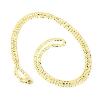 """Unisex Solid 14k Yellow Gold Comfort Cuban Curb 2.6mm Chain Necklace, 24"""""""