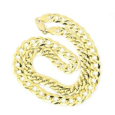 """Men's Solid 14k Yellow Gold Comfort Cuban Curb Heavy 10mm Chain Necklace, 24"""""""