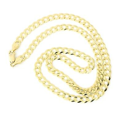 """Men's Solid 14k Yellow Gold Comfort Cuban Curb 5.7mm Chain Necklace, 22"""""""