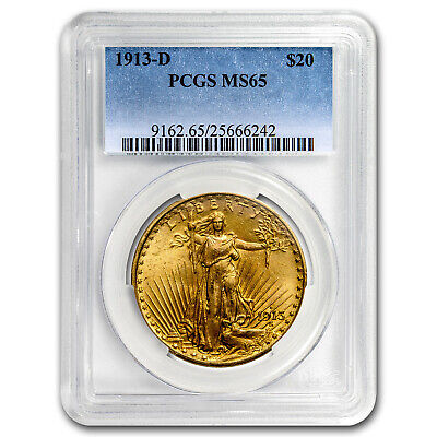 1913-D $20 Saint-Gaudens Gold Double Eagle MS-65 PCGS - SKU #61958