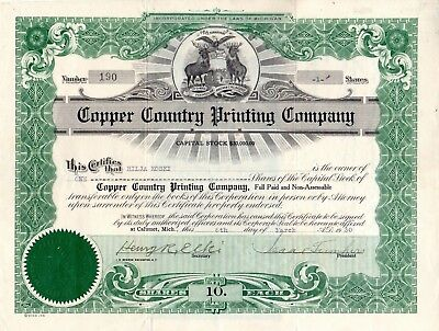 Copper Country Printing Company of Calumet, Michigan 1930 Stock Certificate