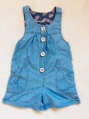 Girls Pale Blue Short Sleeveless  Dungarees Age 5-6 Years From Primark