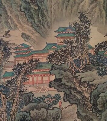 Vintage Hand Painted Landscape & Temples on Mountain Japanese Scroll Painting...