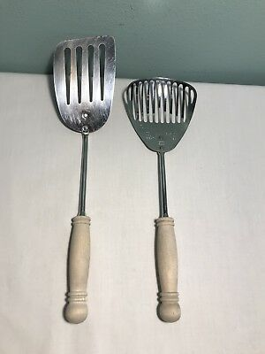 Vintage EKCO Slotted Spatula AND Kitchamajig with Wood Handles chromium plated