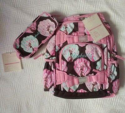 New Pottery Barn Kids SMALL girls BACKPACK & PENCIL CASE monogram ISABELLA  pinK