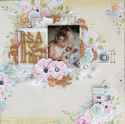 "Handmade Pre-made Mixed Media 12"" x 12"" Scrapbook Page Layout - Girl Thing"