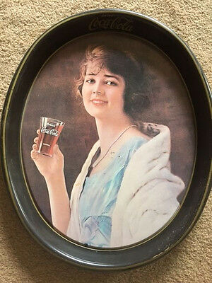 Coke Metal Serving Tray 1973 Woman In Pearls Drink Coca Cola-Oval