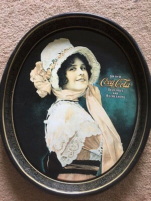 """Coca Cola Vintage Oval """"betty Girl"""" Serving Tray 1972 Reproduction Of 1914"""