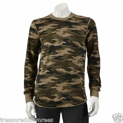 Croft & Barrow Long Sleeved Thermal Crew Shirt ~ Large ~ Green Camouflage ~ NWT