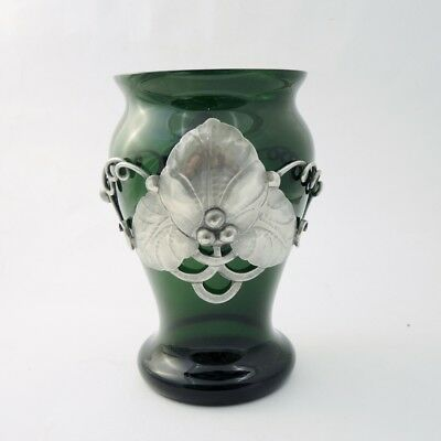 c.1900 Art Nouveau Antique Green Glass Vase with Hammered Pewter Cladding