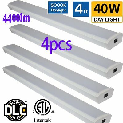 4PCS 4ft 40W LED Wraparound Flushmount Ceiling Light For Garage Work Shop WE