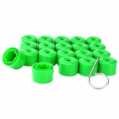 17Mm Wheel Nut Covers Hub Screw Bolts Caps Protector For Volkswagen Green 20pcs