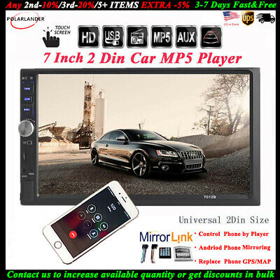 Car Radio Stereo 2DIN Bluetooth Touch Screen MP5 Player/USB/TF/AUX Head Unit