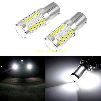 2x BA15S P21W 1156 LED Car Backup Reverse Light White Bulb 33-SMD 5630 5730 12V