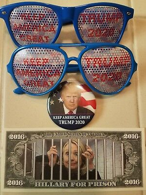 Trump 2020 Keep America Great Sunglasses & Button + Hillary For Prison Dollar