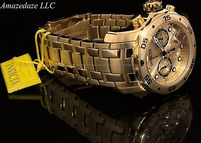 NEW Invicta Mens Pro Diver Scuba Chronograph Stainless Steel Golden Dial Watch
