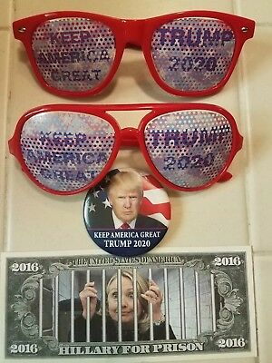 Trump 2020 Keep America Great Sunglasses With Button & Hillary For Prison Dollar