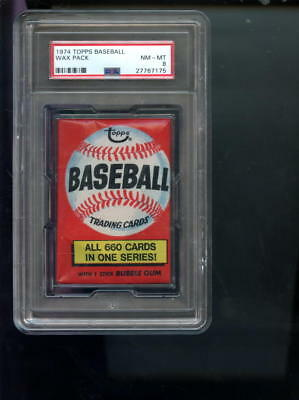 1974 Topps Baseball Card Unopened Wax Pack Locker Ad NM-MT PSA 8 Graded