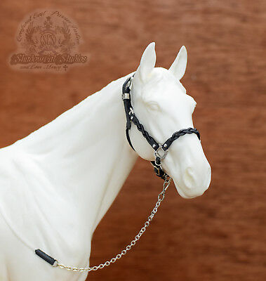 Custom Traditional 1:9 Scale GREY Leather Braided Halter fits Breyer Peter Stone