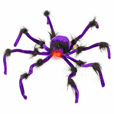 Halloween Haunters Giant 2ft Scary Purple Spider Prop Decoration Red LED Eyes