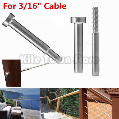 """Stainless Steel Invisible Receiver Stud Swage End Fitting 3/16"""" Cable Railing US"""