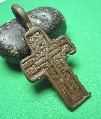 Ancient Bronze Cross Wearable Pendant Antique Rare C75