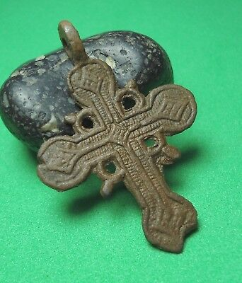 Ancient Bronze Cross Wearable Pendant Antique Rare C16
