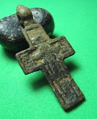 Ancient Bronze Cross Wearable Pendant Antique Rare C3