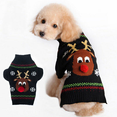 Pet Dog Cat Knitted Jumper Sweater Puppy Doggy Warmer Coat Jacket Winter Clothes