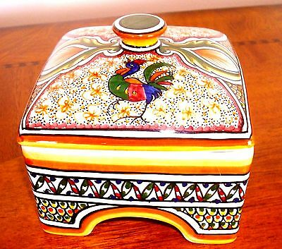 Vintage Unique Hand Painted Collection Box & Cover, Faience,made In  Portugal ,