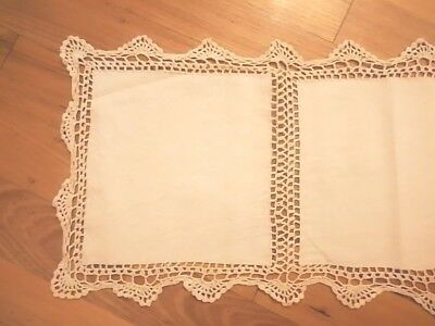 Cotton Yarn Hand Crocheted Table Runner Beige 38cm W x 90cm L CR18