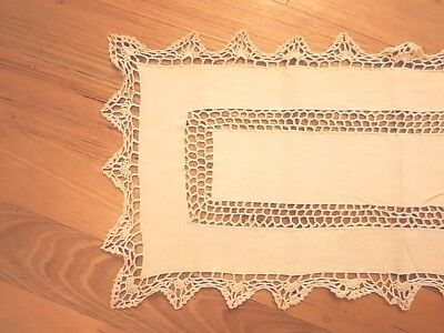 Cotton Yarn Hand Crocheted Table Runner Beige 33cm W x 72cm L CR20